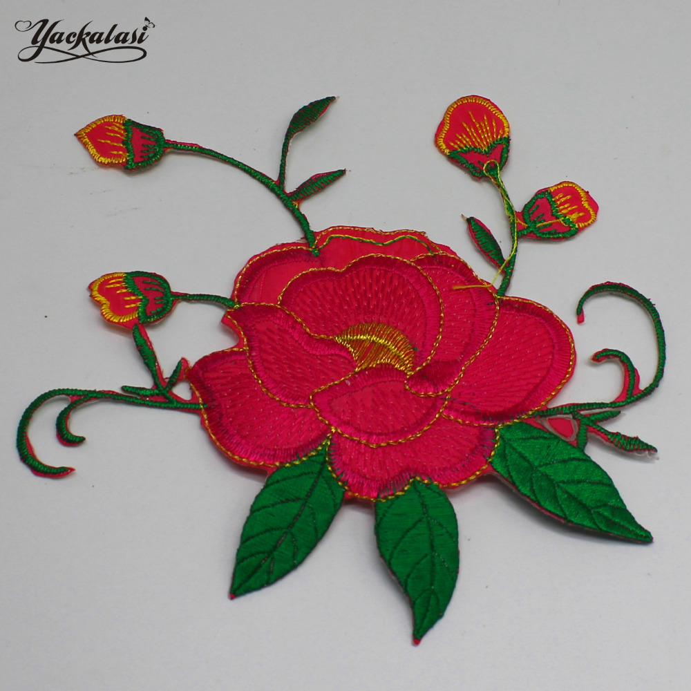 Red Colored Flower Lace Appliqued Iron On Floral Patches Embroidery ...