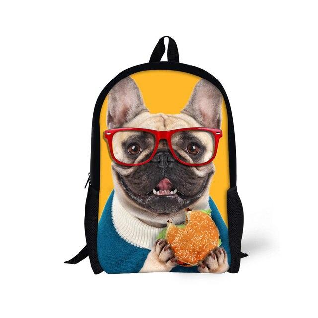 Милые Дети Школьные Сумки для Средней Школы Мальчиков 3D Животных Мопс Собака Печати Школьный Случайные Дети Книги Мешок Mochila intantil