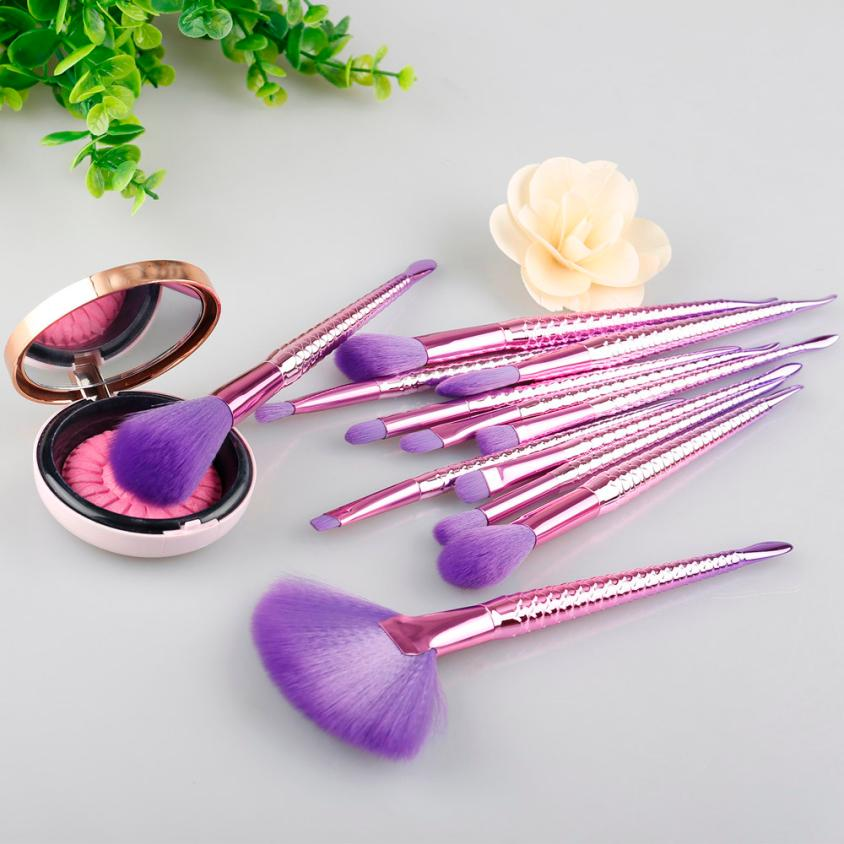 Beuaty Girl 2017 Hot  12 PCS Colorful Make Up Foundation Eyebrow Eyeliner Blush Cosmetic Concealer Unicorn  Brushes beauty girl 2017 10pcs make up foundation eyebrow eyeliner blush cosmetic concealer brushes unicorn brush sets dropshopping