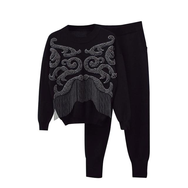 HIGH STREET New Fashion Runway 2018 Designer Suit Set Women's Stunning Beaded Tassel Sweater Knitting Pants Set