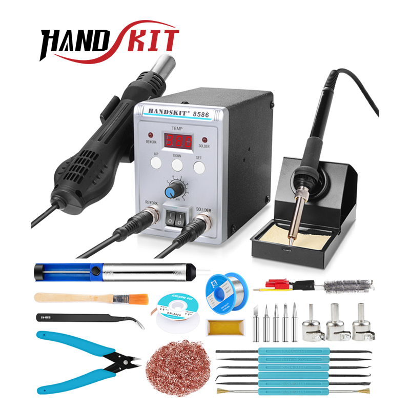 Handskit Soldering Staiton 8586 2 in 1 Hot Air SMD <font><b>Bga</b></font> <font><b>Rework</b></font> welding <font><b>station</b></font> <font><b>220V</b></font> portable Soldering <font><b>Station</b></font> Welding Tools image