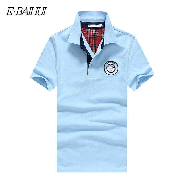 E-BAIHUI бренд Летом Стиль Мужские Теннис Коротким Рукавом Твердых Рубашки поло Хлопка Поло Мужчины Camisa воротник Рубашки Поло Мужчин P003