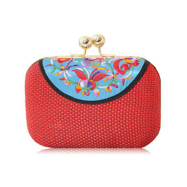 New Women's Handbag Vintage Shoulder Bags Floral Ethnic Bags Women Embroidery Bag High Quality Evening Clutch Chain Clutches Bag