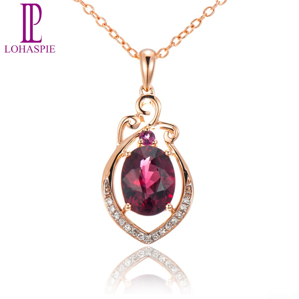 Lohaspie Diamond-Jewelry 1.95ct Natural Rhodolite Garnet Solid 18k 750 Rose Gold Pendant Fine Gemstone Jewelry For Birthd Gift