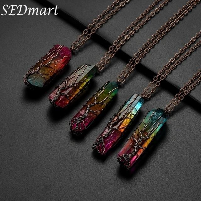 SEDmart 手作り 7 チャクラ自然な/虹石生活の木のペンダントネックレス男性ロングチェーンステートメントジュエリーギフト