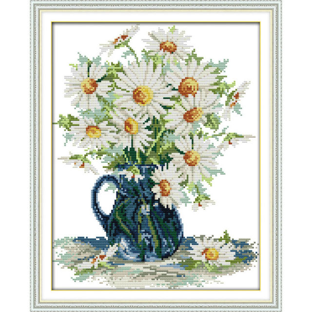 Daisy In Vase Flowers Home Decor Diy Painting Counted Printed Canvas