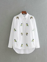 Oriole Bird Embroidery Women Blouse Shirt 2017 Spring Autumn Long Sleeve 100 Cotton Women Blouses Tops