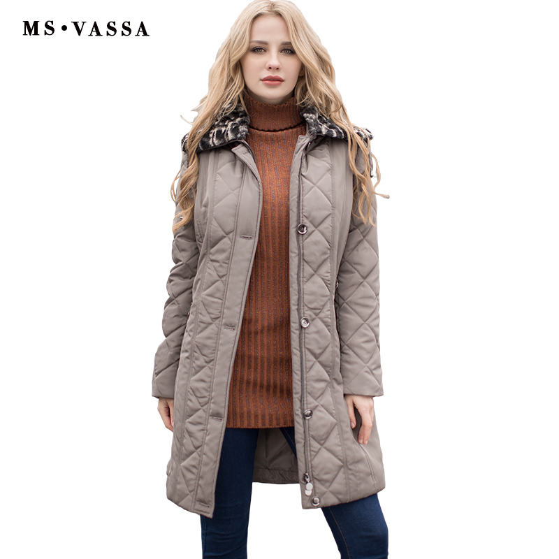 MS VASSA Ladies Coats quilted New Autumn Winter Women Parkas plus size 7XL detachable fake fur