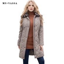 MS VASSA Ladies Coats quilted New Autumn Winter Women Parkas plus size 7XL detachable fake fur collar two way zipper outerwear
