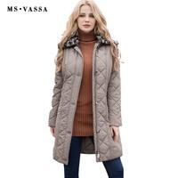 MS VASSA Ladies Coats quilted New Autumn Winter Women Parkas plus size 7XL detachable fake fur collar two way zipper outerwear