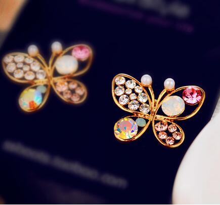Новый корейский роскошные открытые блестящие красочные cystal имитация жемчуг 18KGP бабочка серьги C639