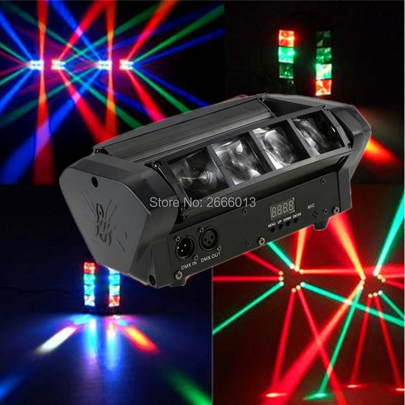 цена на DHL Free Shipping Mini LED Spider Light/LED Beam Moving Light/DMX512 Professional For Disco DJ Stage Lights/RGBW LED Beam Lamps