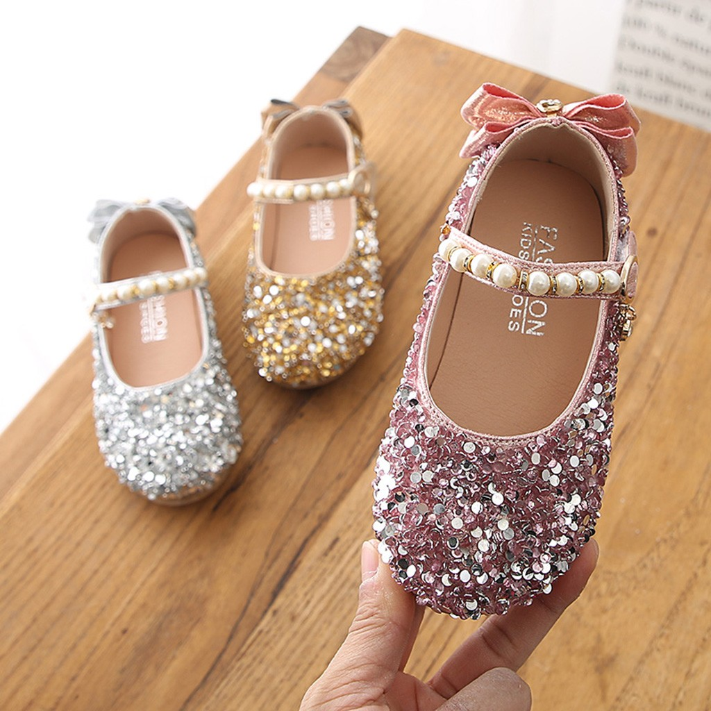 Casual-Shoes Crystal Girls Cute Children Pearl Bowknot HOOLER Princess-Dance Kids Single