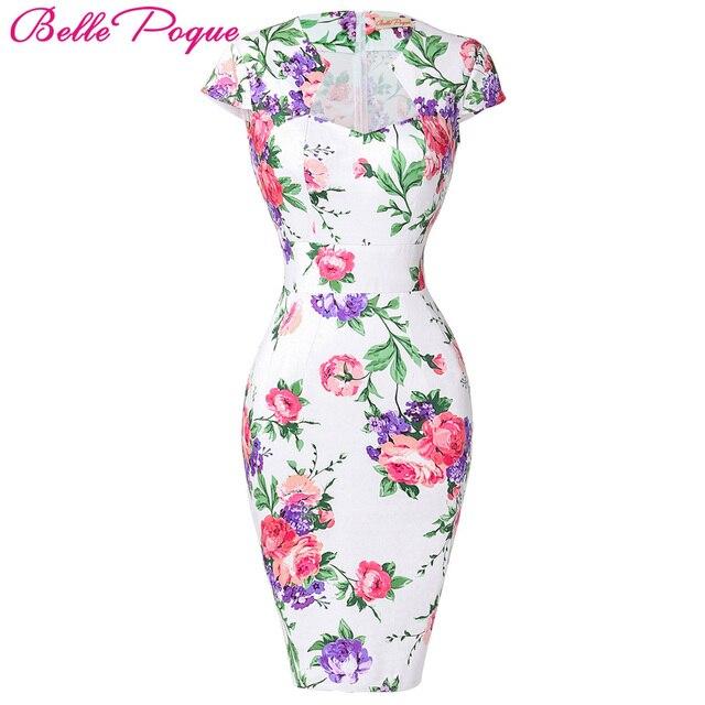 Summer Dress 2017 50s Vintage Womens Sexy Dresses Party Night Club Sheath Plus Size Vestidos Floral Bodycon Women Pencil Dress