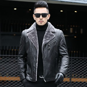 Image 3 - 冬のビジネスの男性本革ジャケット厚いウールライニングショートコートのオフィス作業高級シープスキンムートンレザーコートをジャケットプラスサイズ