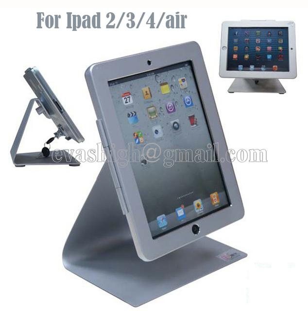 Alta seguridad de metal tablet soporte de exhibición, soporte de escritorio, tablet titular caso de bloqueo, anti-robo dispositivo de sistema para ipad 2/3/4/air