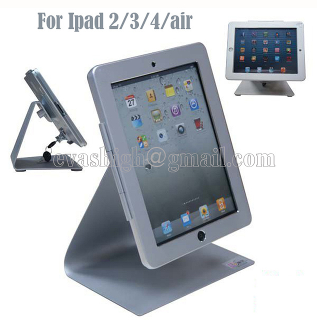 De alta segurança de metal display stand tablet, suporte de desktop, tablet titular bloqueio caso, dispositivo anti-roubo sistema para ipad 2/3/4/air