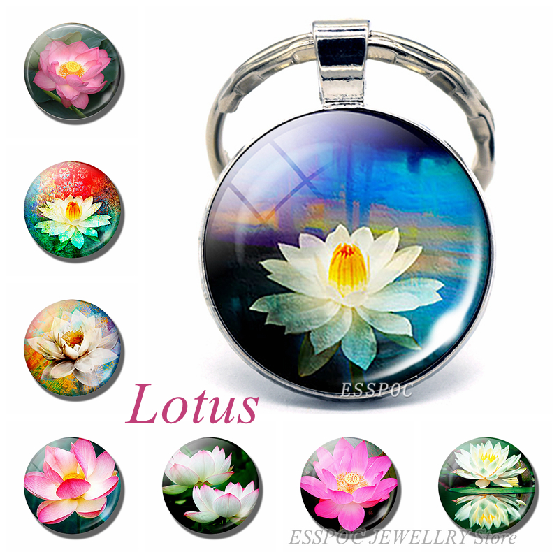 Fashion Lotus Flower Photo Pendant  Key Chain Metal Key Ring Cabochon Keychain For Women Men Gifts Flower Language: Pure Heart