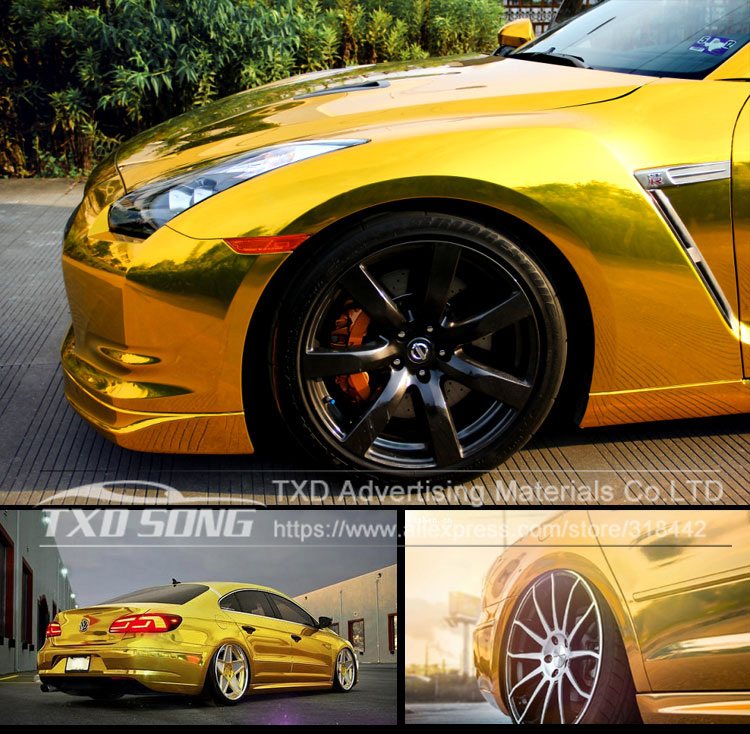 Image 3 - Premium quality stretchable mirror gold Chrome Mirror flexible Vinyl Wrap Sheet Roll Film Car Sticker Decal Sheet-in Car Stickers from Automobiles & Motorcycles