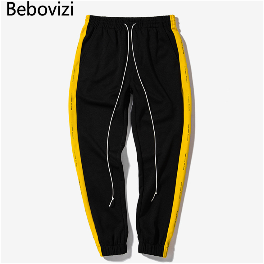 5 Color 2017 New Retro Hit Color Side Stripes Printing Pants Elastic Waist Pants Hip Hop Casual Joggers Sweatpants Women Men