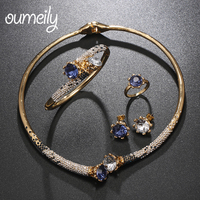 OUMEILY Jewelry Sets Dubai Gold Color Bridal Jewelry Sets For Women African Earrings Fashion Nigerian Wedding Jewelry Set