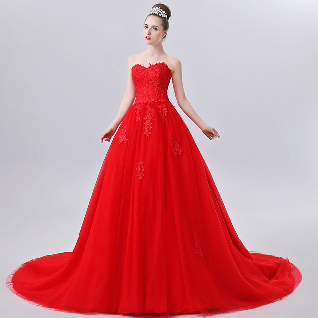 Princess Style Red Lace Wedding Dress 2017 Gown In Color Bride Sweetheart Bridal