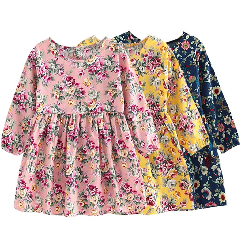 Girls Spring Summer Dress Long Sleeve O-neck Floral Print Princess Mini A-Line Dress Baby Girls Children Clothes Dresses