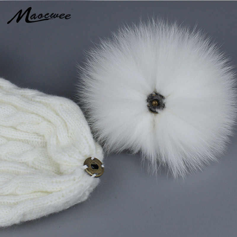 Real Fox Fur Pompom For Women Hats Fur Pom Poms for Hats Caps Big Natural Raccoon Fur Pompon Ball For Hats Winter Accessories
