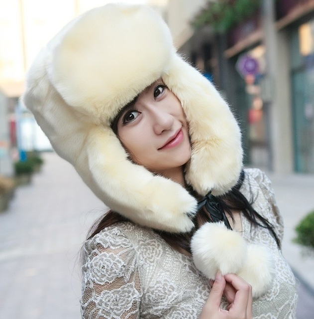 e460a803f31 Womens Ladies Russian Faux Fur Hat For Women Fur pom pom Hat White Black  Women Winter Bomber Hat