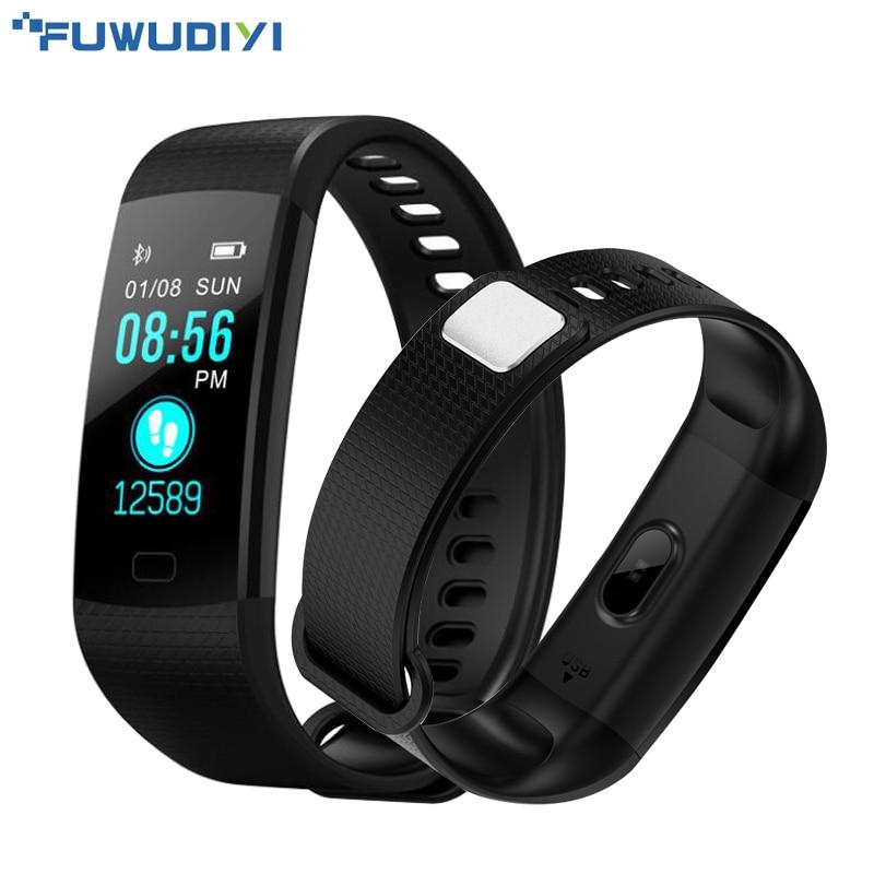 FUWUDIYI Y5 Smart Bracelet Heart Rate Monitor Fitness Bracelet Color Screen Blood Pressure Activity Tracker Band PK mi Band 2 goral y5 smart bracelet 0 96 inch tft color screen