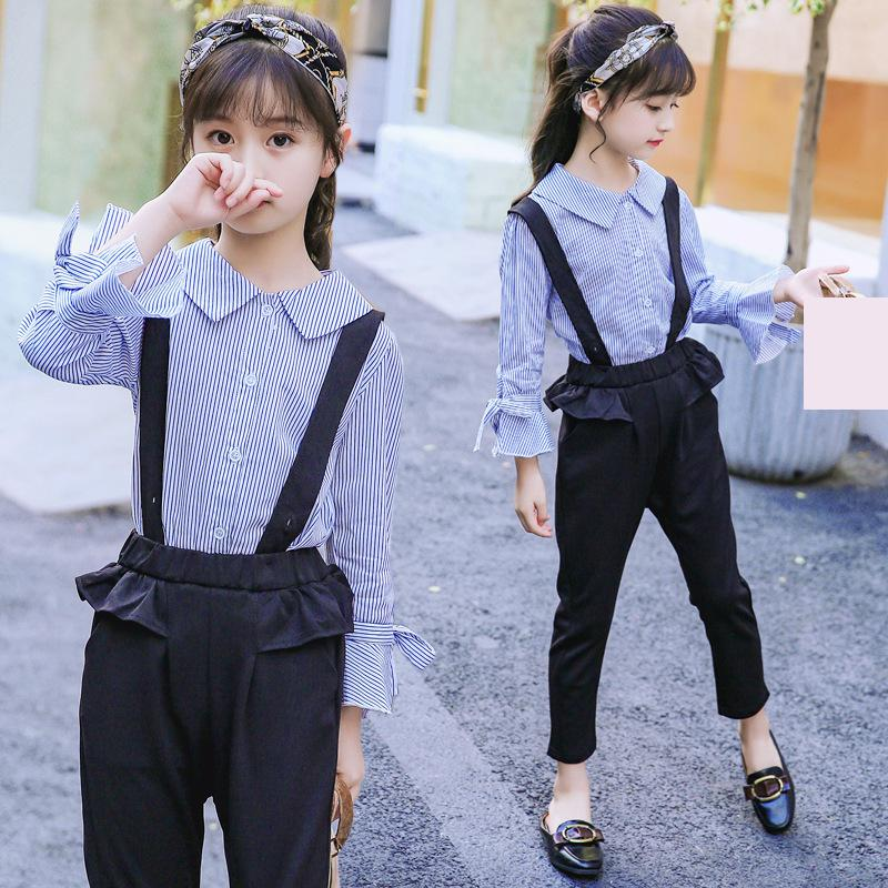 2018 Long Sleeve Striped Blouses Shirts + Jumpsuits Suit For Girls Clothing Set Autumn Boutique 2 Pcs Girls Clothes 10 12 Years шарф ea7 285543 7a393 00010