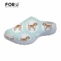 FORUDESIGNS Platform Sandals Shoes Woman Summer 2018 Beagles Pet Dog Printing Mesh Flats Ladies Female Shoes zapatos de mujer