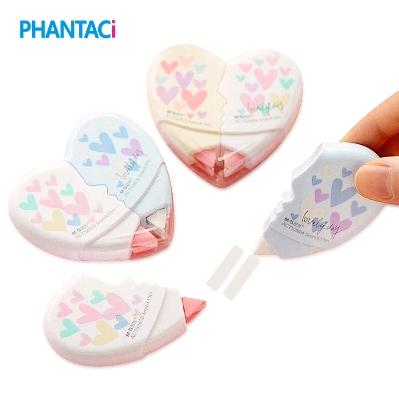 2 Pcs/pair Love Heart Correction Tape Material Escolar Kawaii Stationery Office School Supplies Papelaria 10M