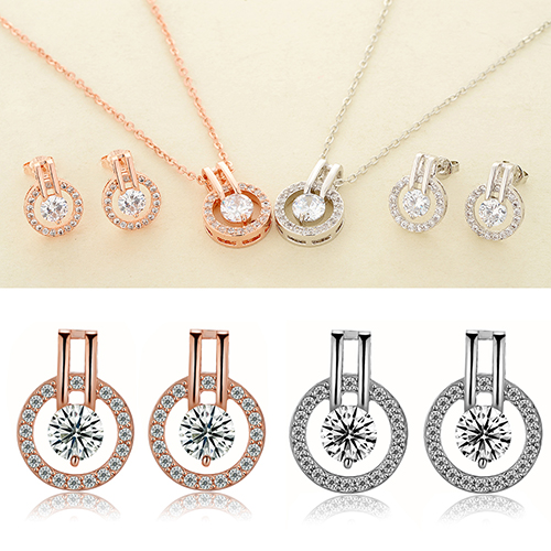 New Arrival Women's Zircon Round Pendent Choker Chain Necklace Earrings Wedding Jewelry Set Fashion Leader' Choice 4