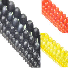 "New LNRRABC AA+ Quality 4/6/8/10/12mm Round String Opal Loose Spacer Bead Stone Cat Eye Beads 16"" Black/Orange Red/Yellow(China)"
