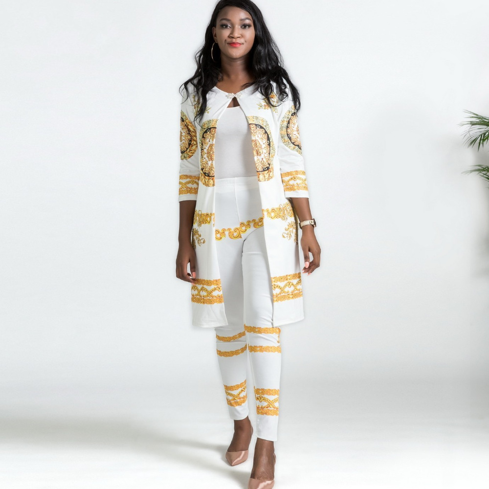 2019 New African Elastic Print Bazin Baggy Rock Style Pants Dashiki Famous Dress Sleeve For Lady / Women Coat And Leggings 2 Pcs