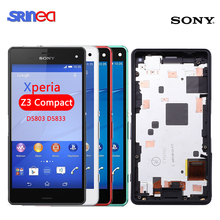 4.6 Original LCD For Sony Xperia Z3 Compact D5803 D5833 LCD Display Digitizer Sensor Z3 mini Assembly LCD with Frame + Adhesive original for sony xperia z3 compact lcd display touch screen digitizer 4 6for sony z3 mini display with frame d5803 d5833 d6603