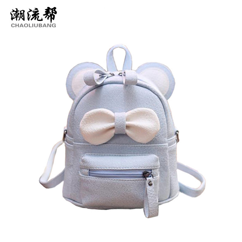 CHAOLIUBANG Cute mouse ear shoulder bag candy color mini crossbody bag for women leather backpack lovely