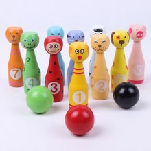 WOODEN MINI BOWLING BALL SET Cartoon Animal Shape Ball Game Kids Outdoor Sport Toys For Color Digital Cognition(China)