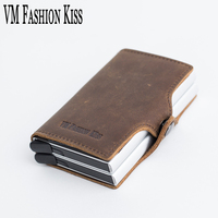 VM FASHION KISS RFID Crazy Horse Leather Mini Wallet Security Information Double Box Aluminum Credit Card