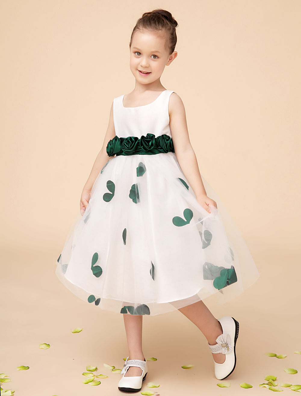 Tulle A line ivory little Girls Dresses with green sash wedding party kids girls formal dresses