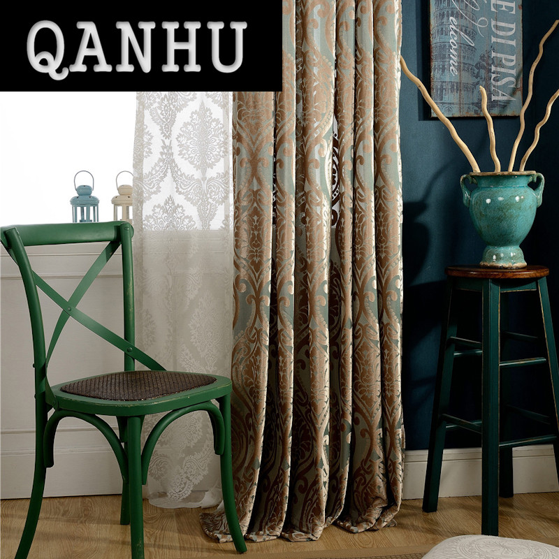QANHU Chinese Style Orchids Blackout Curtains For Bedroom Polyester/Cotton  Comfortable Curtains Set For The Living Room A 18