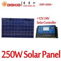 DOKIO Brand 250W 30 Volt Solar Panel China 10A 12 24 Volt Controller 250 Watt Solar