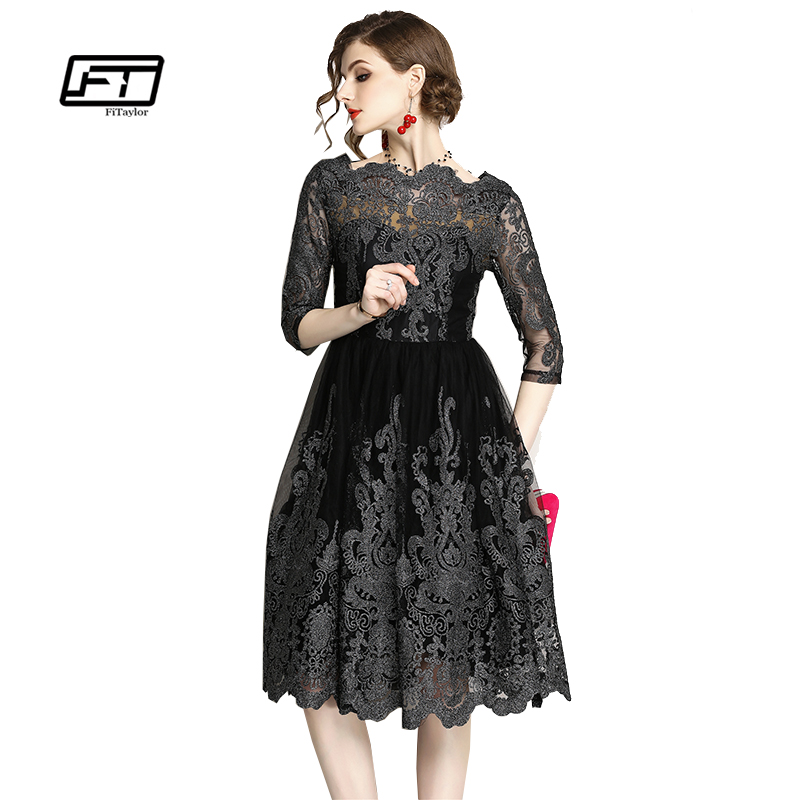 Fitaylor Hollow Out Embroidered Dress Women Elegant Party Knee Length Mesh Dresses Vestidos