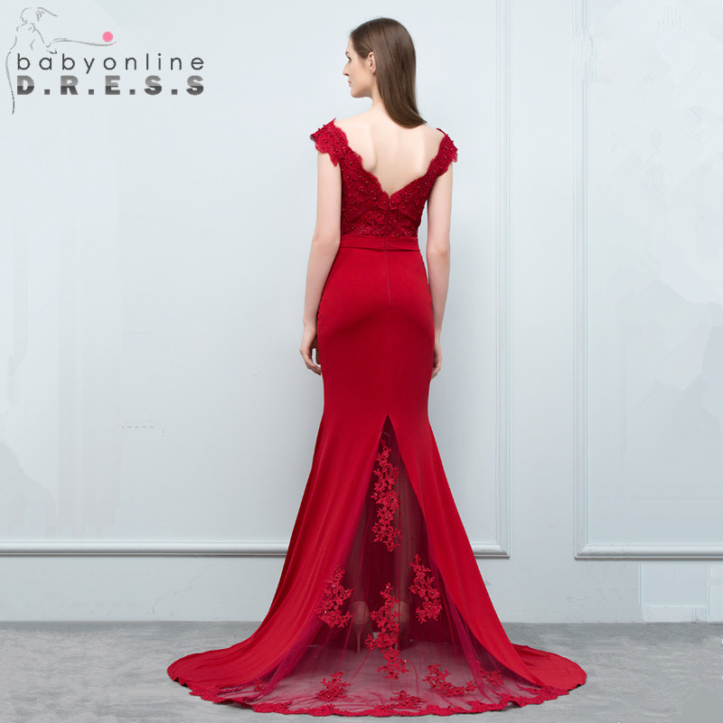 Babyonline Elegant Burgundy Lace Long Evening Dress Sexy V Neck Backless Evening Gowns with Tulle Train Robe de Soiree Longue