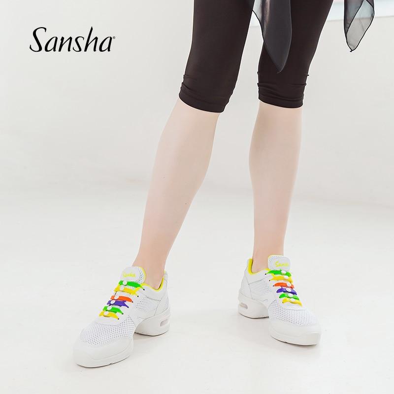 Sansha Summer Breathable Mesh Dance Sneaker Hip Hop Salsa Dance New Colorful Silicone Buckles H131M