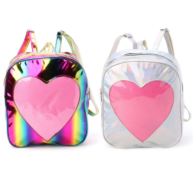 THINKTHENDO Colorful Women PU Holographic Backpack Schoolbag Rainbow  Shoulder Bag with Transparent Heart