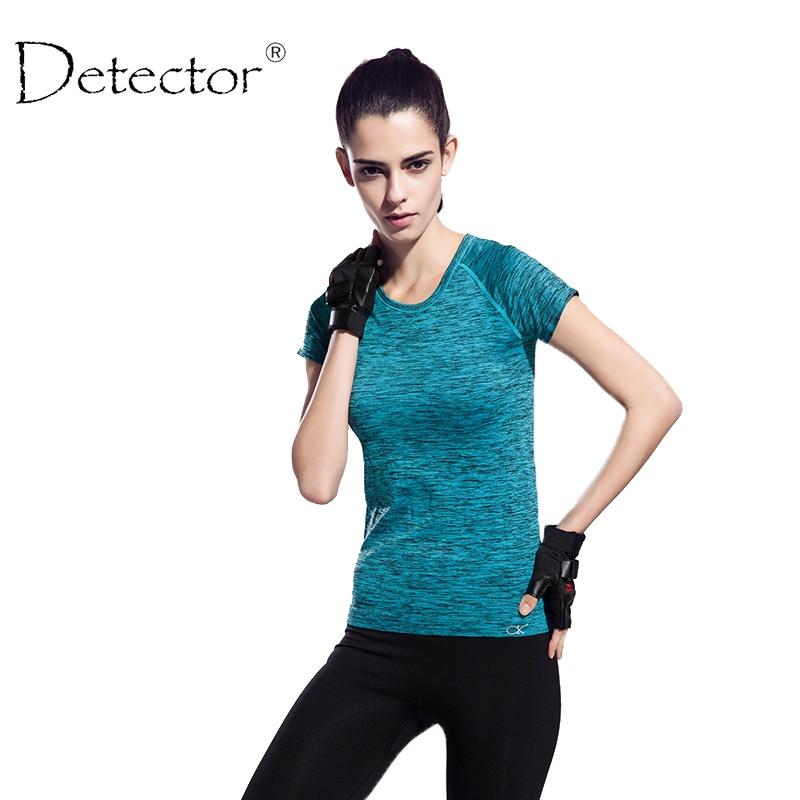 Detector Women sports Tees Dry Quick Elastic Compression Gym T-Shirt Tops Fitness Short Sleeve T Shirt Singlet Running TShirt