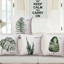 Tropical Green Leaves Nordic Plant Floral Decorative Sofa Throw Pillow Case Office Chair Cushion Cover Vintage Home Decor e1072 цена