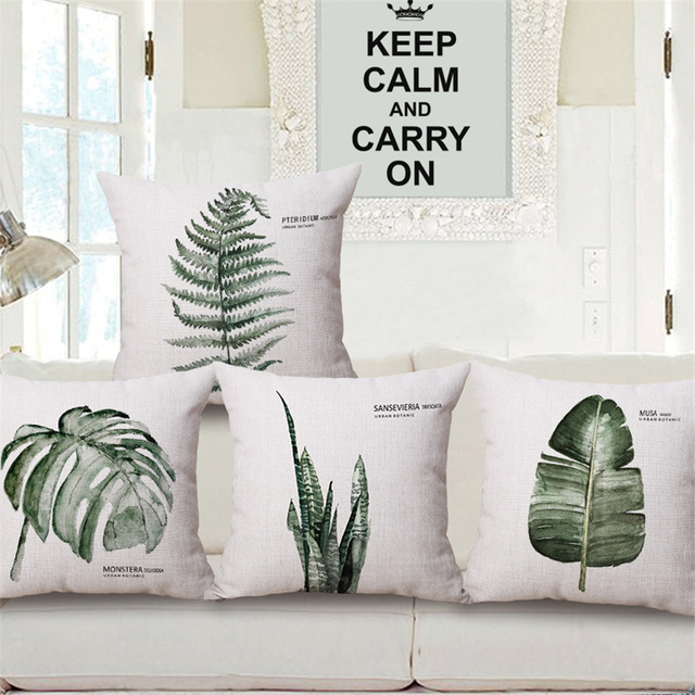 Sensational Us 4 95 9 Off Tropical Green Leaves Nordic Plant Floral Decorative Sofa Throw Pillow Case Office Chair Cushion Cover Vintage Home Decor E1072 In Ncnpc Chair Design For Home Ncnpcorg
